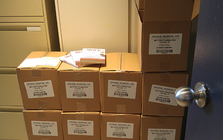 Piled up boxes of books