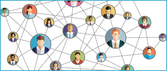 illustration: linked heads in social network