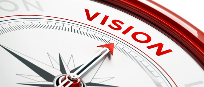"Compass points to word ""Vision"""